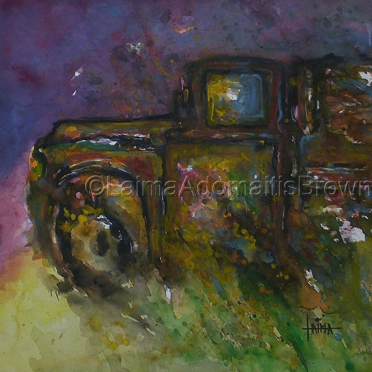 Retro vintage abandoned old rusty truck in a field glows with vibrant colors as trash to treasure, watercolors, gouache, mixed media, old truck, vintage, antique, charming, sourthwestern, country, farm, praire (large view)